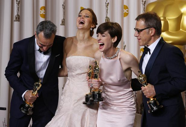 Daniel  Day-Lewis, Jennifer Lawrence, Anne Hathaway, Christoph Waltz Oscar 2013