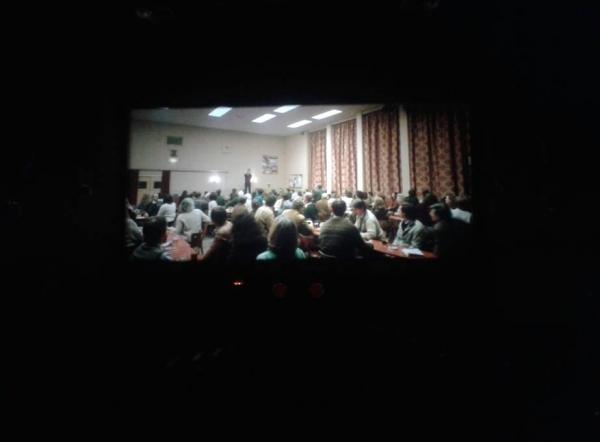 fotografía durante la proyección de una película